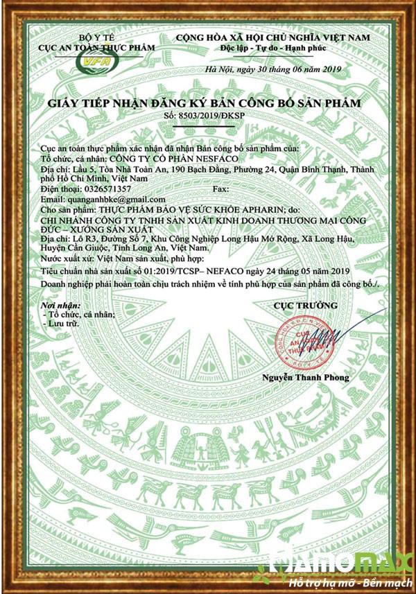 Apharin được cấp phép lưu hành sản phẩm trên thị trường bởi cục an toàn thực phẩm
