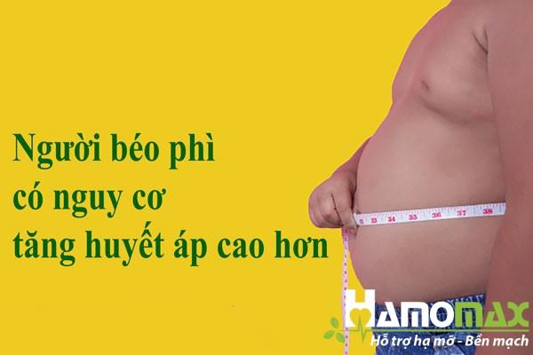 Người béo phì có nguy cơ tăng huyết áp cao hơn người bình thường