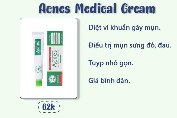 Ưu điểm của kem trị mụn acnes medical cream.