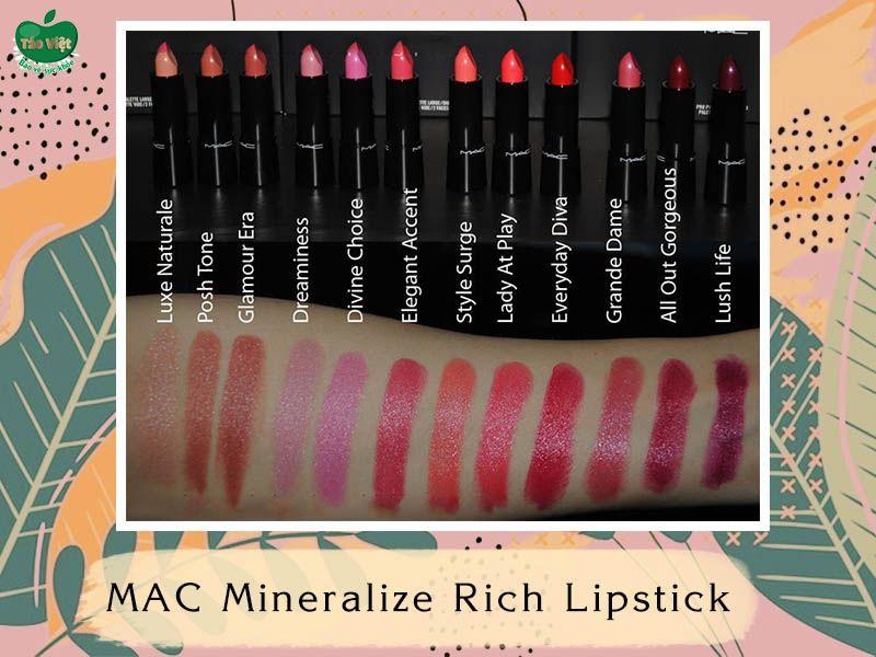 Bảng màu dòng MAC Mineralize Rich Lipstick