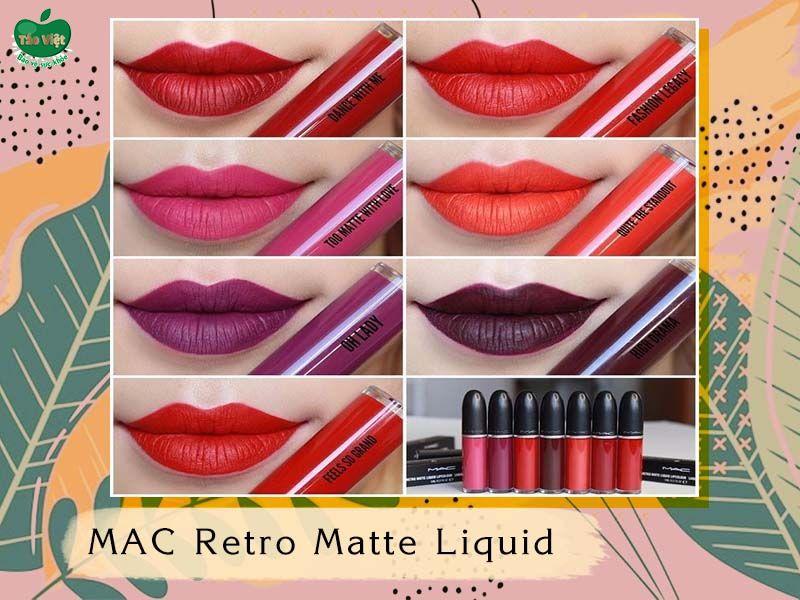Bảng màu dòng MAC Retro Matte Liquid