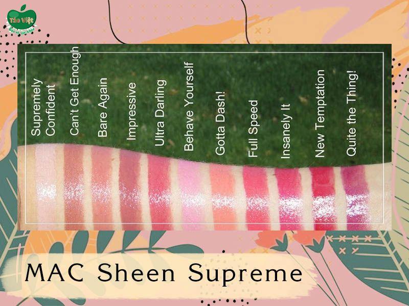 Bảng màu dòng MAC Sheen Supreme