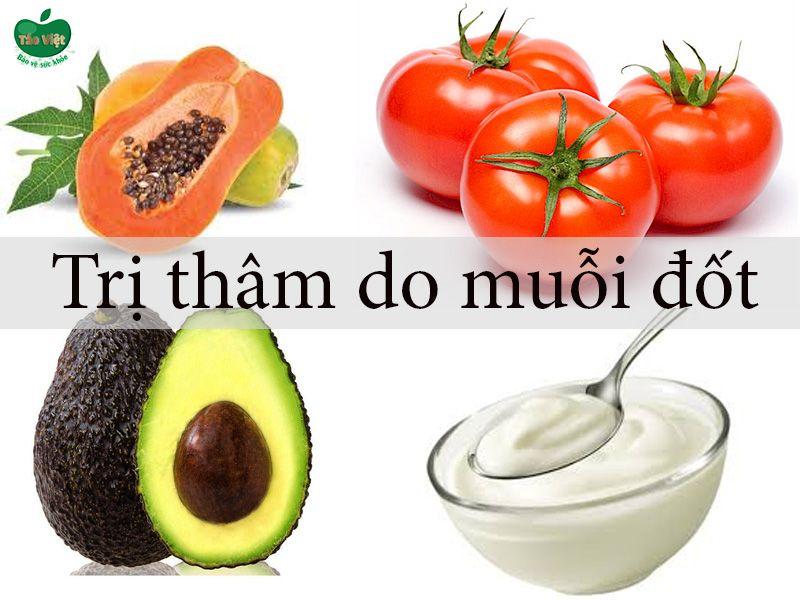 đu đủ + cà chua hoặc bơ + sữa chua trị thâm do muỗi đốt