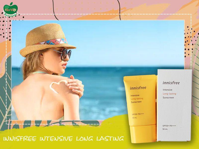 Kem chống nắng Innisfree Intensive Long Lasting giúp bảo vệ làn da nhiều giờ ngoài nắng