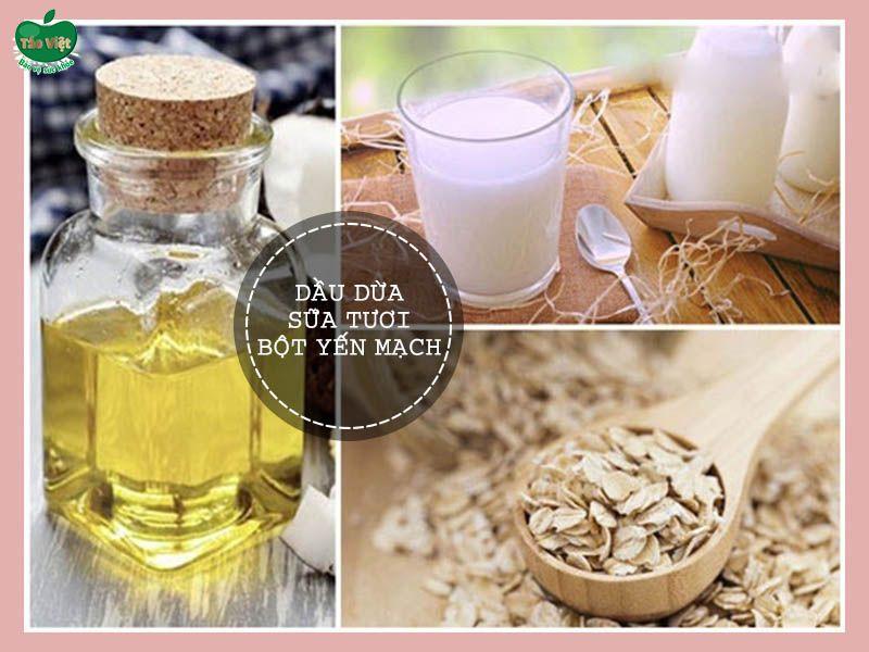 Mặt nạ dầu dừa, sữa tươi và bột yến mạch