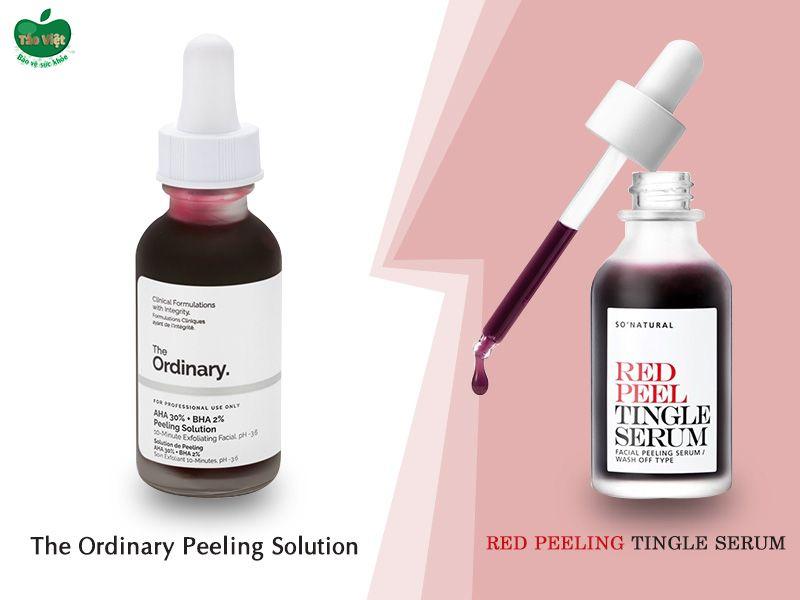 So sánh The Ordinary Peeling Solution và Red Peel Tingle Serum