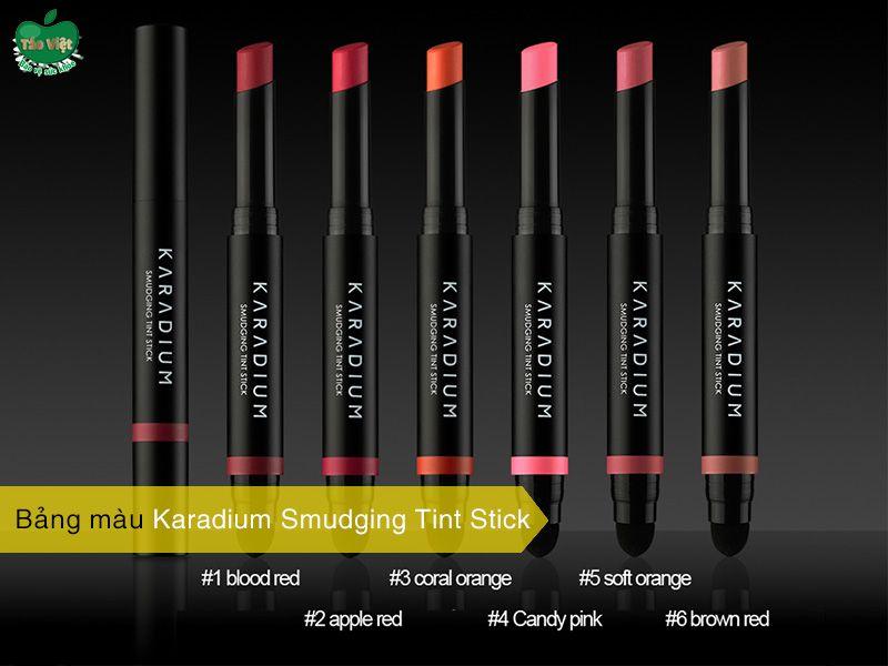 Bảng màu son Karadium Smudging Tint Stick