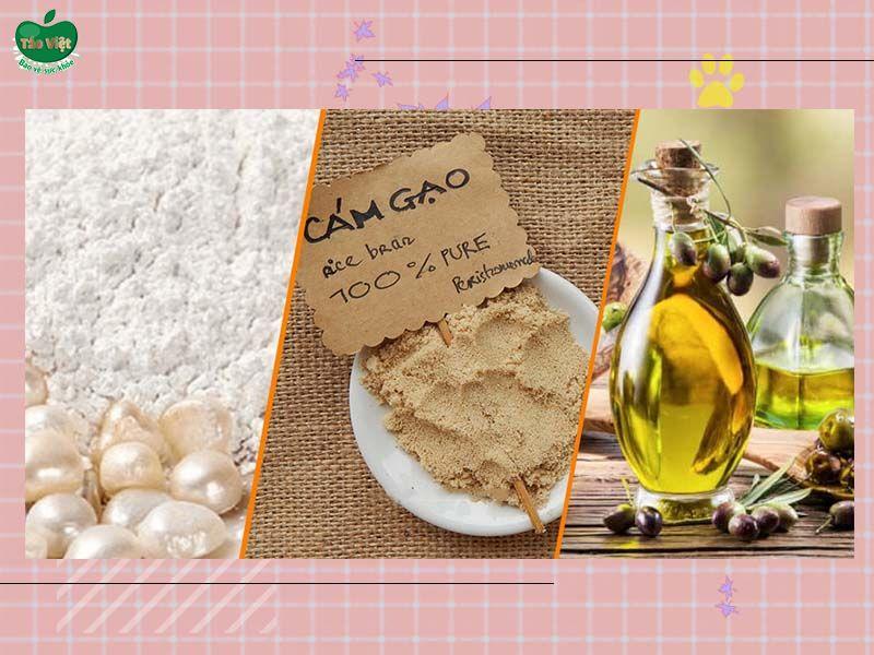 Công thức tắm trắng với bột ngọc trai, cám gạo và dầu oliu