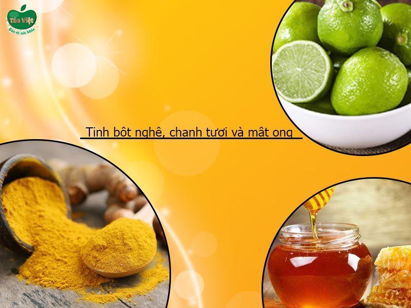 Tinh bột nghệ với mật ong, chanh tươi