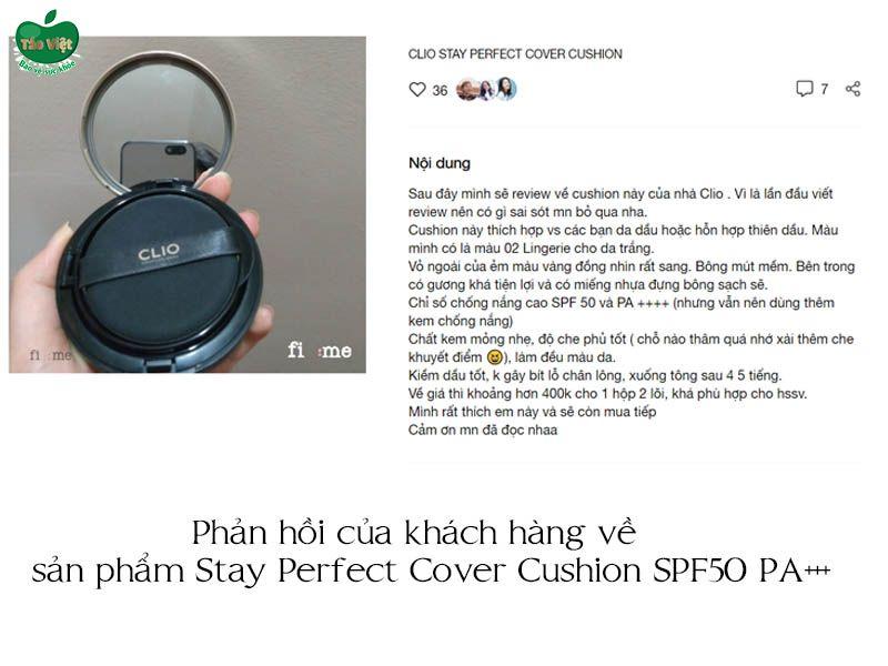 Phản hồi của khách hàng về sản phẩm Stay Perfect Cover Cushion SPF 50+ PA++++