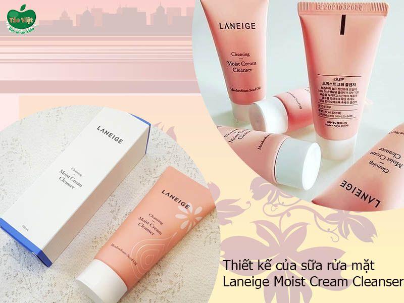 Thiết kế của sữa rửa mặt Laneige Moist Cream Cleanser