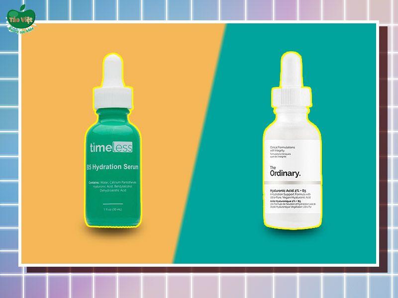 So sánh sản phẩm Serum Timeless B5 với sản phẩm The Ordinary HA 2% + B5