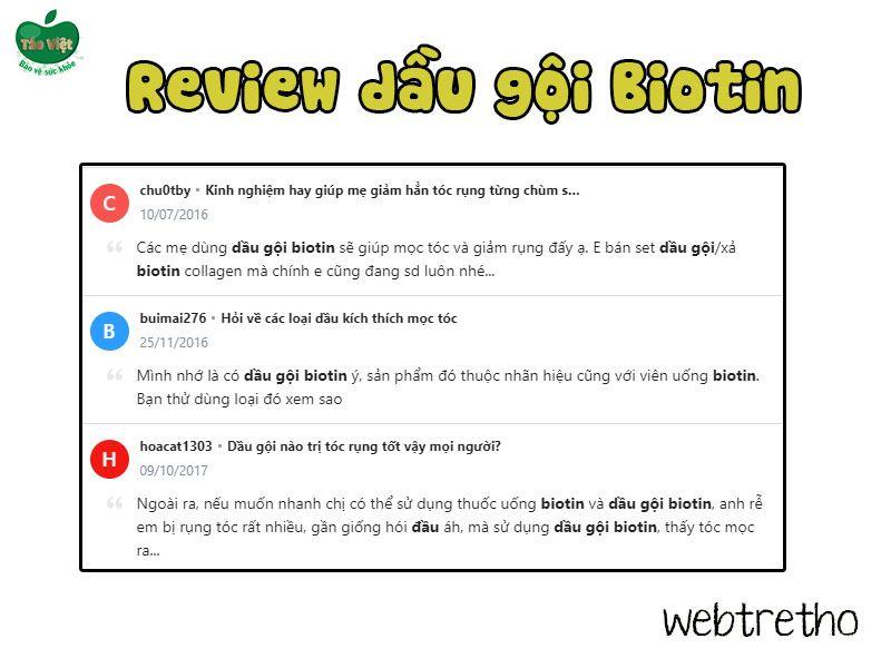 Review về dầu gội Biotin Collagen trên Webtretho