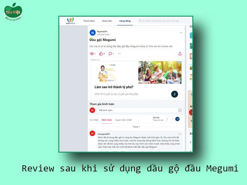Review dầu gội Megumi trên Webtretho