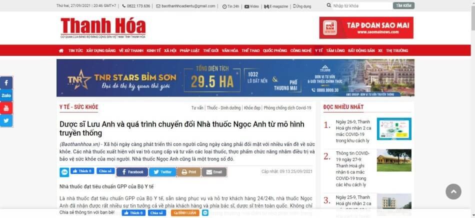 Báo Thanh Hóa đưa tin về nhà thuốc Ngọc Anh